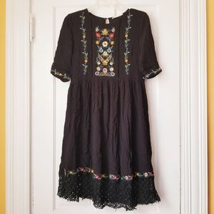 Les Amis Boho Floral Dress Embroidered Crochet